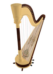 Ancient harp isolated.
