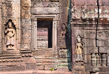 Apsara and bass relief in Angkor Wat, Cambodia