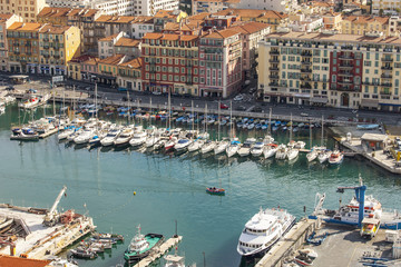 Nice, France. The top view on the city port of Nice