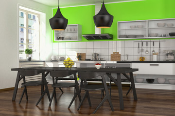modern open plan kitchen - shot 2