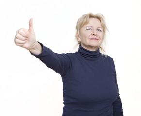 Frau Daumen hoch Freigestellt