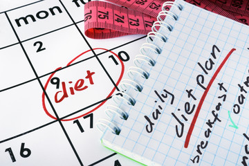 Calendar with word diet and daily meal plan.
