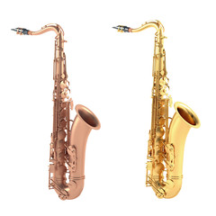 gold and old copper saxophone isolated