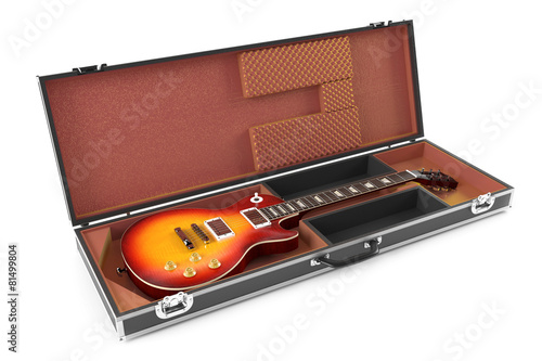 electric guitar in brown Case isolated - 81499804