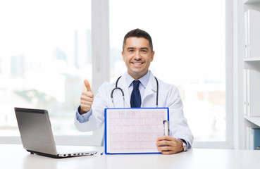 happy doctor with clipboard showing thumbs up