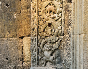 Bass relief of an animals Ta Prohm Temple, Siem Cambodia.