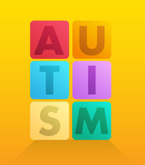 Autism spelled out in blocks vector