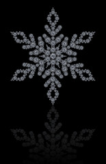 Diamond snowflake on black background