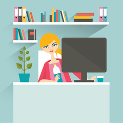 Woman office workplace. Secretary. Flat vector illustration.