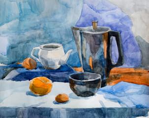 Still life, watercolor drawing