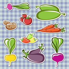 Set vegetables  in the vector.