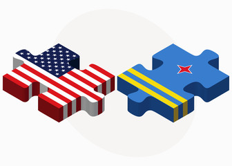 USA and Aruba Flags in puzzle