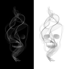 Vector Smoky Skull on black and white background