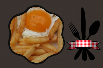 Oeuf sur le plat Frites  - Fast  Food