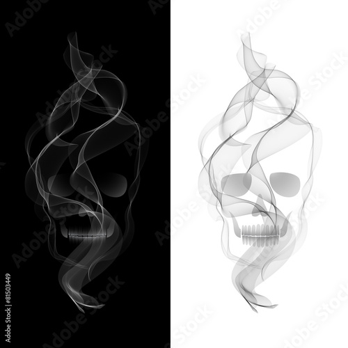 Foto op Plexiglas Rook Vector Smoky Skull on black and white background