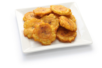 tostones, fried green plantain banana chips