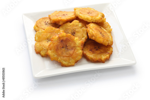 Plexiglas Koken tostones, fried green plantain banana chips