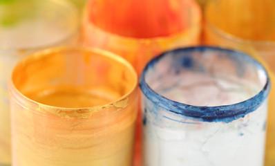 Watercolor gouache jars detail.