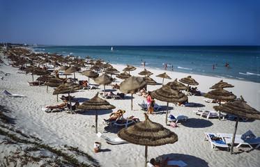 TUNISIA, Mahdia, view of the beach - FILM SCAN