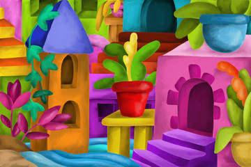 Abstract with colorful houses fantasy