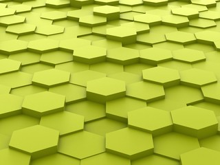 background of 3d green hexagon blocks