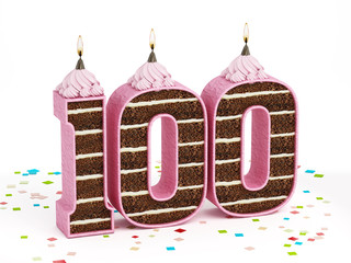Number 100 shaped chocolate birthday cake with lit candle