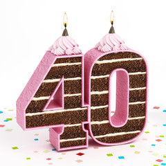 Number 40 shaped chocolate birthday cake with lit candle
