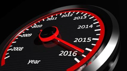 Conceptual 2016 year speedometer