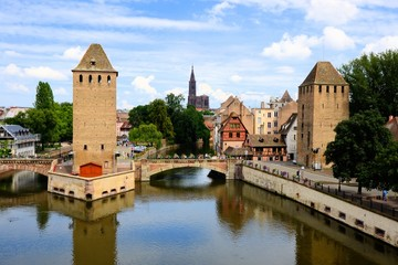 Medieval towers along the canals of Strasbourg, France