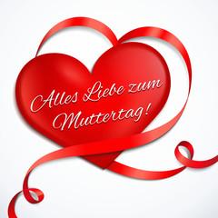 Rotes Herz mit Schleife - Alles Liebe zum Muttertag