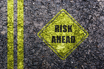 risk ahead sign showing business concept with copyspace