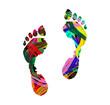 impronta astratta di piedi umani