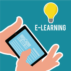 E-learning, bulb, hands  and tablet over blue color background