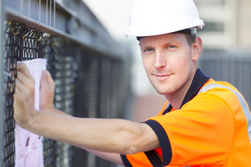 Construction worker working at a building site