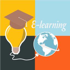 E-learning, bulb and mortarboard over color background