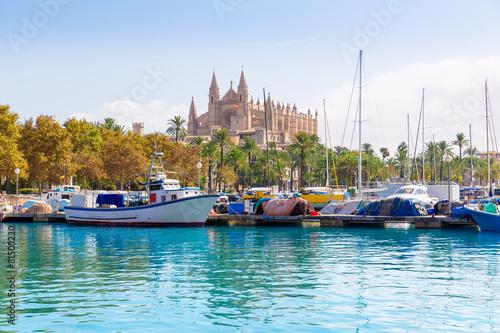 Fotobehang Mediterraans Europa Palma de Mallorca port marina Majorca Cathedral