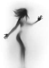 Beautiful female body silhouette, hands and hair