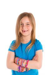 Loom rubber bands bracelets blond kid girl