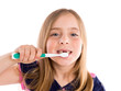 Blond kid indented girl cleaning teeth toothbrush