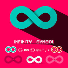 Infinity Symbols Set Retro Vector Illustration