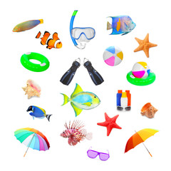Collection of objects on tropical beach vacations theme.
