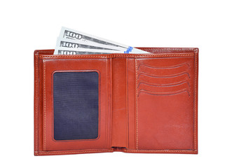 Brown leathter wallet with 100 dollars money