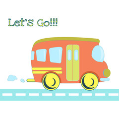 Baby toys pattern in doodle style. Cartoon bus on the road.