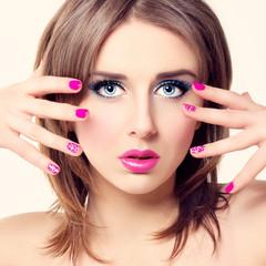 Fashion Beauty Female Model Face. Manicure and Make-up. Nail art