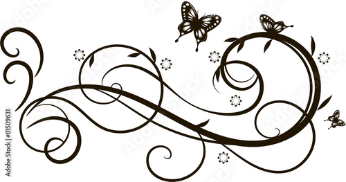 Floral ornament with butterflies - 81509631