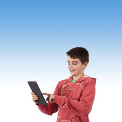 child with mobile tablet