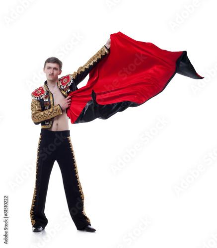 Staande foto Stierenvechten Studio shot of man dressed as bullfighter