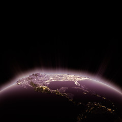 USA city lights at night