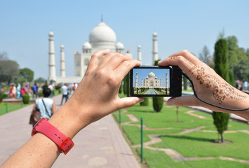 Taj Mahal on the screen of a camera. Agra, India