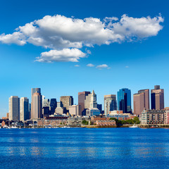 Boston Massachusetts skyline from Harbor